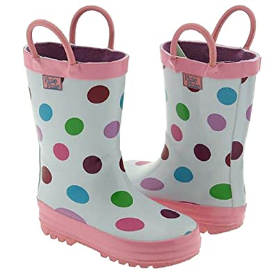 Amazon.com | Pluie Pluie Toddler Little Girls White Polka Dot Rain ...