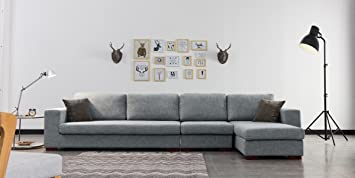 Designetsamaison Canapé d angle droit en tissu gris - Opera  Amazon ... a52827bd4628
