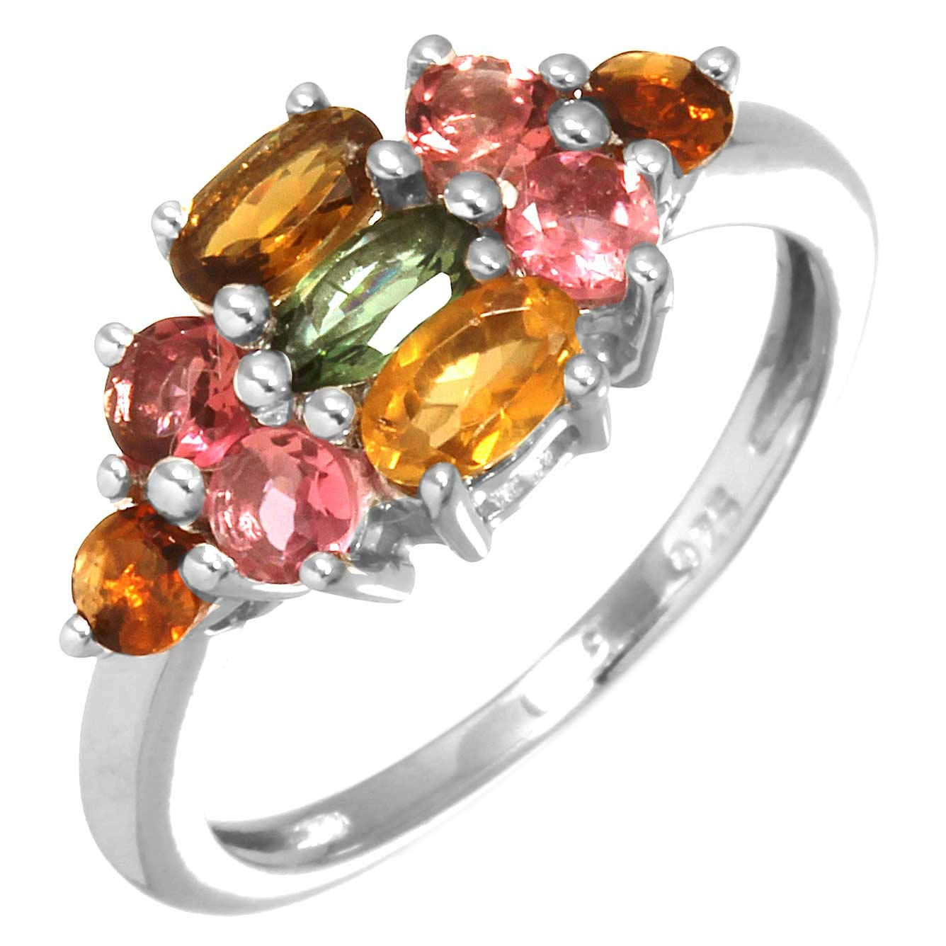 Solid 925 Sterling Silver Designer Jewelry Natural Multi Tourmaline Gemstone Ring Size 6