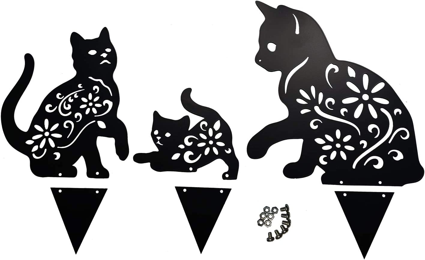 HANNIER Metal Yard Art Stake Black Cat Statue Decor Lawn Ornaments Outdoor and Elegant Garden Design Sculptures Cutouts Silhouette Fence Clearance (CAT-Family)