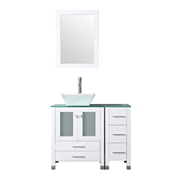 Bathjoy 36 White Bathroom Wood Vanity Cabinet Single Square Ceramic
