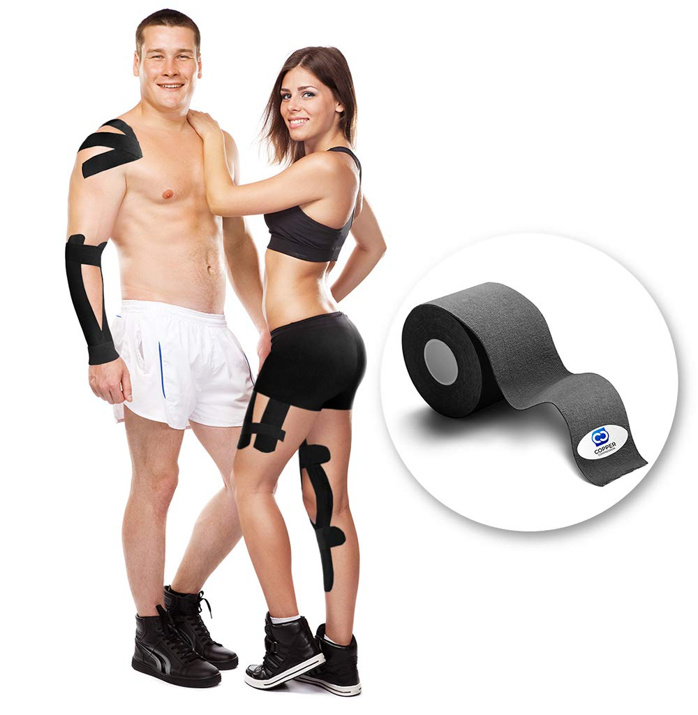 Copper Compression Kinesiology Tape - Guaranteed Highest Copper Athletic Sport K Tape. 1 Roll Waterproof K-Tape for Men and Women. Kinesio Tapes Support Sports, Injuries, Knee, Shoulder, Ankle, Elbow