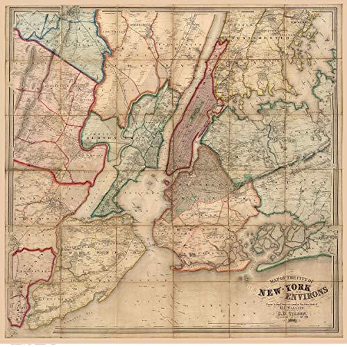 New York City & Environs 1860 - NY Wall Map with Homeowner Names Genealogy - Old Map Reprint
