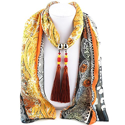 ysiop-women-chiffon-geometric-scarf-necklace-vintage-bohemia-tassel-neckwear-yellow