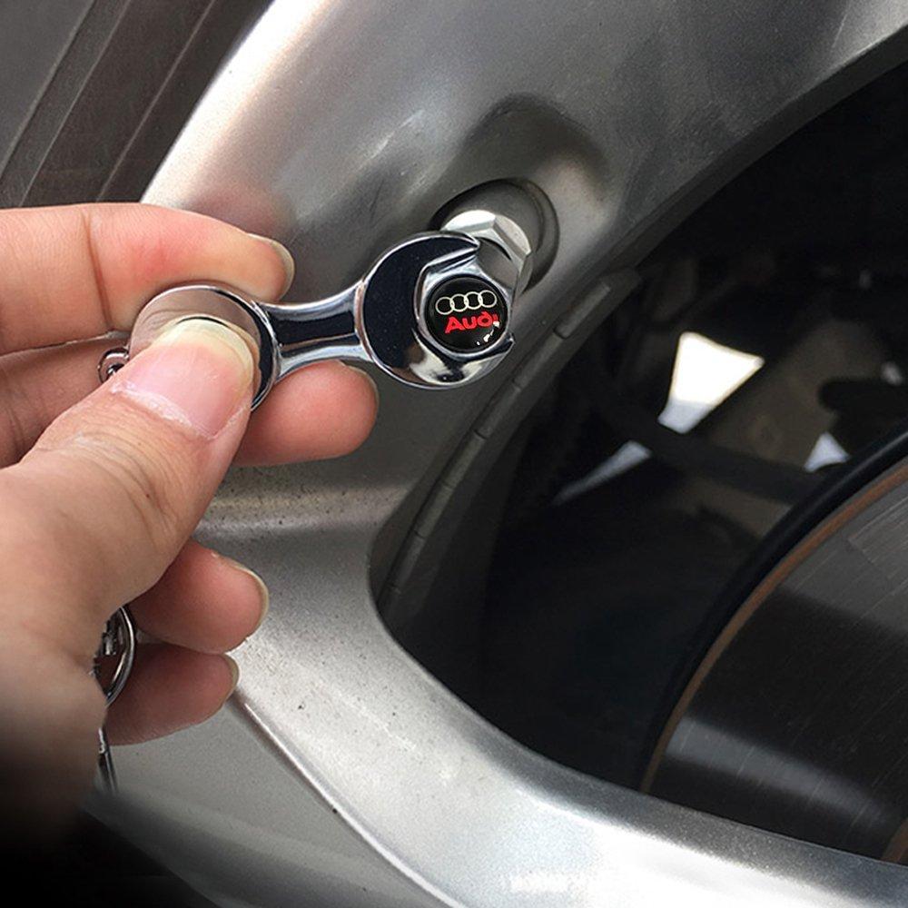 OPAYIXUNGS opay ixungs Capuchons de valve Bouchons anti-poussi/ère Valve pneu avec porte-cl/és Logo Audi