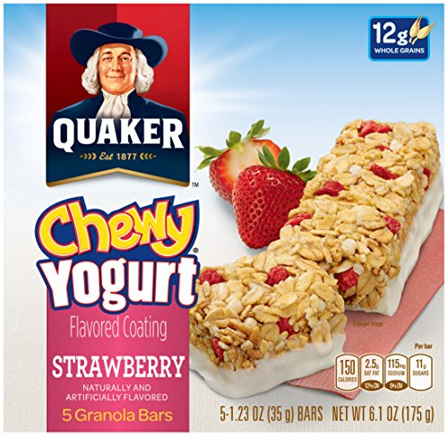 Quaker Yogurt Chewy Granola Bar, Strawberry, 5 Bars , net weight 6.1 ounce (Pack of 6) (Blueberry Yogurt Covered Raisins)