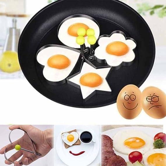 Zhuhaimei,De acero inoxidable de Molde huevo frito Shaper panqueque cocina utensilios de cocina(color:La Plata,size:PACK OF 4): Amazon.es: Hogar