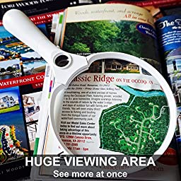 Fancii 5.5 inch Extra Large LED Handheld Magnifying Glass with Light and 2X 4X 10X Illuminated Magnifier Lens - White / Black