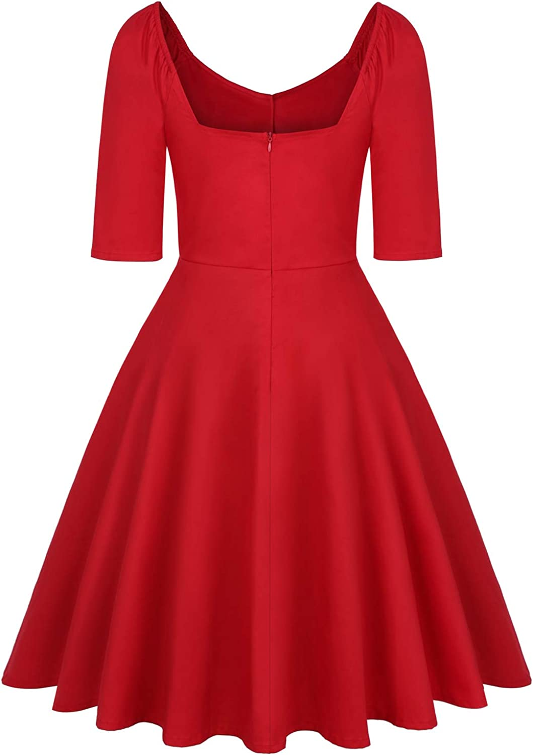 MINTLIMIT Women's 1950s Retro Rockabilly Dress V-Neck with Removable Button 3/4 Long Sleeve Knee Length Party Cocktail Dress Red