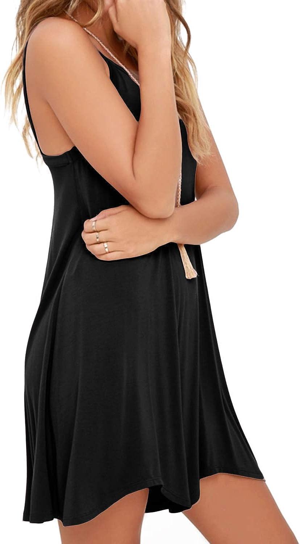YOINS Women Cotton Full Slip Sleeveless Strappy Mini Dress Plain Cami Dress Elasticated Nightwear