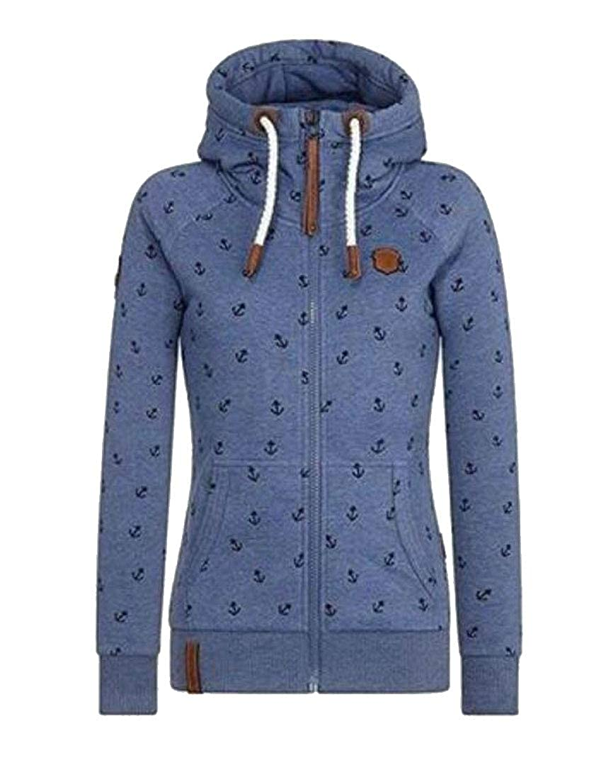ZXFHZS-CA Womens Anchor Print Long Sleeve Drawstring Hood Zipper Sweatshirt Jacket Coat