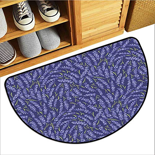 Custom&blanket Pet Door Mat, Lavender Indoor Out-Imdoor Rugs for Kids Room, Healing Aromatic Herbs on Dark Background with Green Stems (Night Blue Violet Blue Olive Green, H20 x D32 Semicircle)