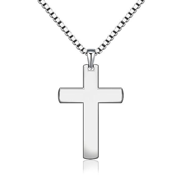 925Sterling Silber Einfache klassische Uni Kreuz Halskette für Unisex Herren Frauen 50,8cm Box Kette