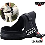 UNHO No Pull Harness Dog Lead Padded Pet Walking Harness Dog Body Vest Comfort Control for Large Dogs in Training Walking XL Chest 32-44 inch