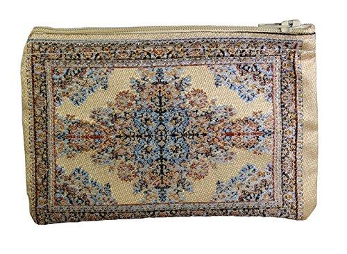 Unique Woman Coin Purse - Card Case - Floral Design - Fabric Oriental Rug (Beige Fabric Wallet)