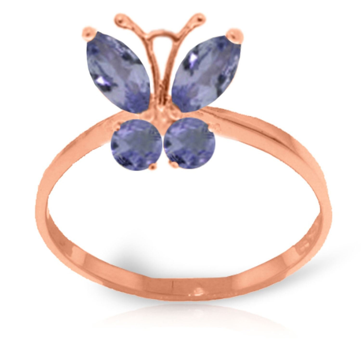 ALARRI 0.6 CTW 14K Solid Rose Gold Butterfly Ring Natural Tanzanite With Ring Size 6.5