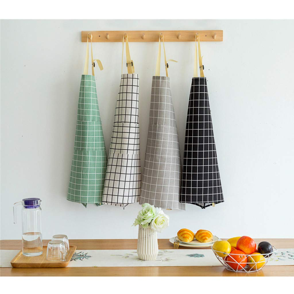 Professional Quality Butchers Kitchen Cooks Apron Oil Proof Waterproof Front Large Pocket Cooking Apron for Waiters Bistro BBQ Kitchen Cooking Craft Baking Chefs Adjustable Plaid Apron