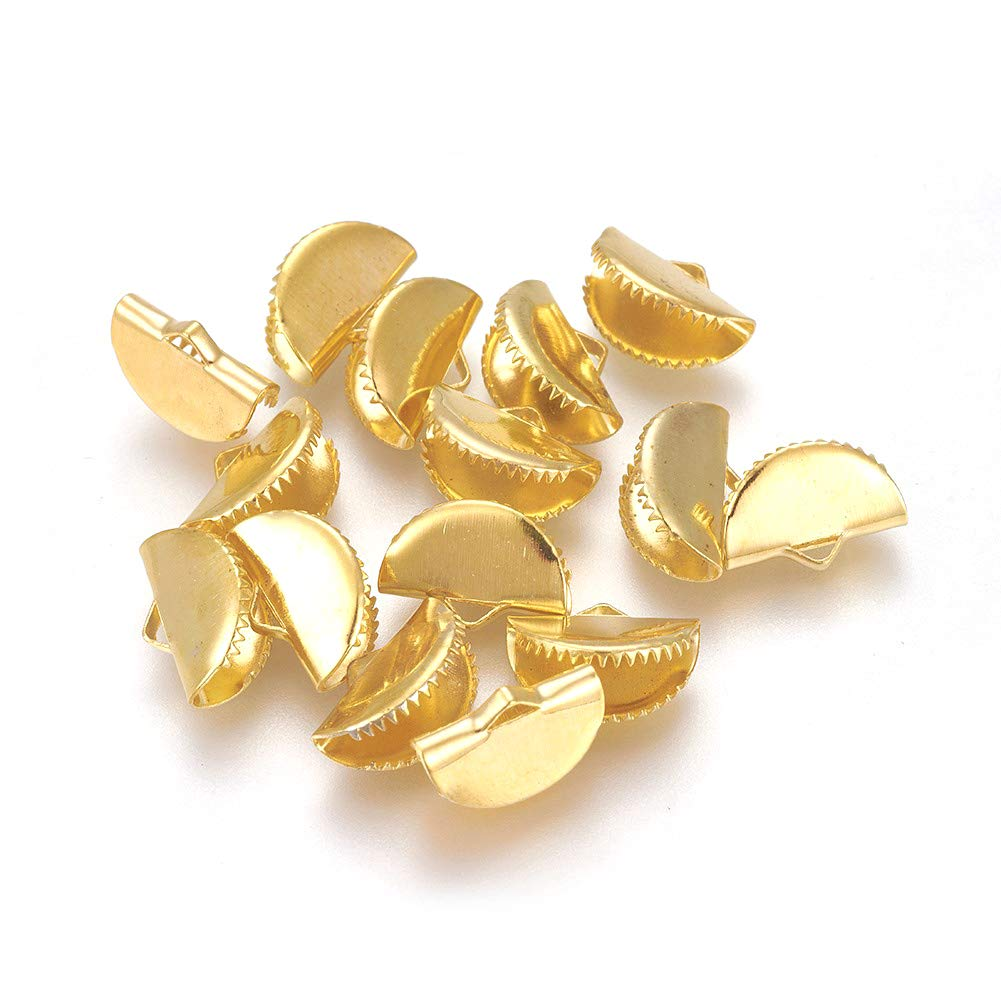 Fashewelry 120Pcs Half Round Ribbon Crimp Cord Ends Platinum Gold Fan Shape Fastener Clasps for Bookmark Jewelry Making