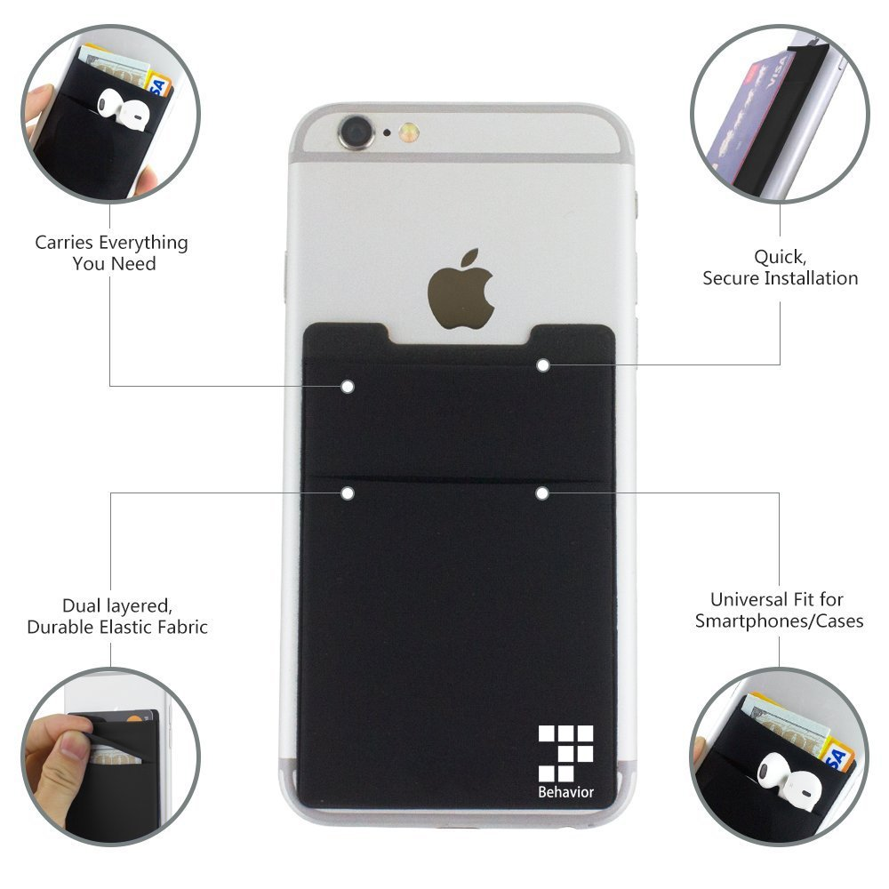 Ultra-Slim Self Adhesive Double Secure Phone Pocket,Credit Card Holder Sleeves Phone Wallet Sticker for All Smartphones RFID-Blocking Phone Card Wallet