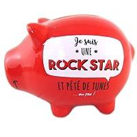 Les Trésors De Lily Q0386 - Tirelire céramique 'Cochon Messages' rouge (Je suis une Rock Star et Pété de tunes ...ou pas !) - 12x8x7.5 cm