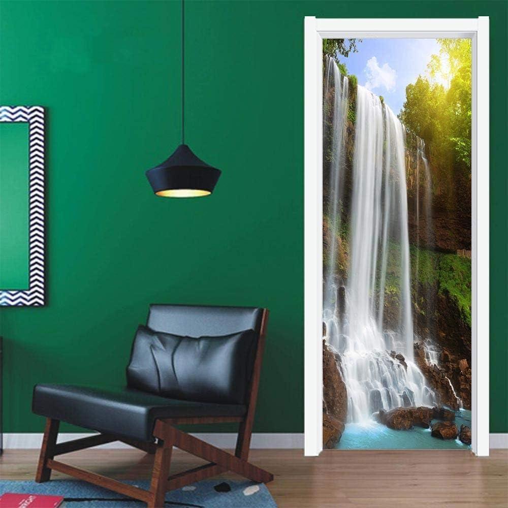 3D Door Sticker Waterfall Self-Adhesive Mural Home Decoration Art Decal Bedroom Bathroom Removable Poster Door Stickers-77x200cm