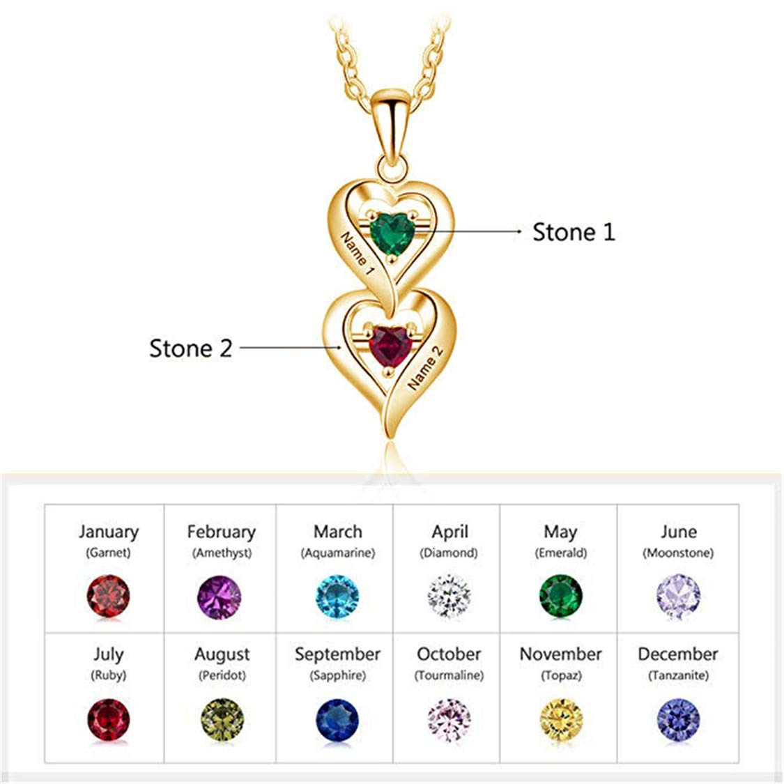 Shiny Alice Custom Double Hearts Name Necklace,Birthstone Drop pendent,Gift for Lover for Girlfriend