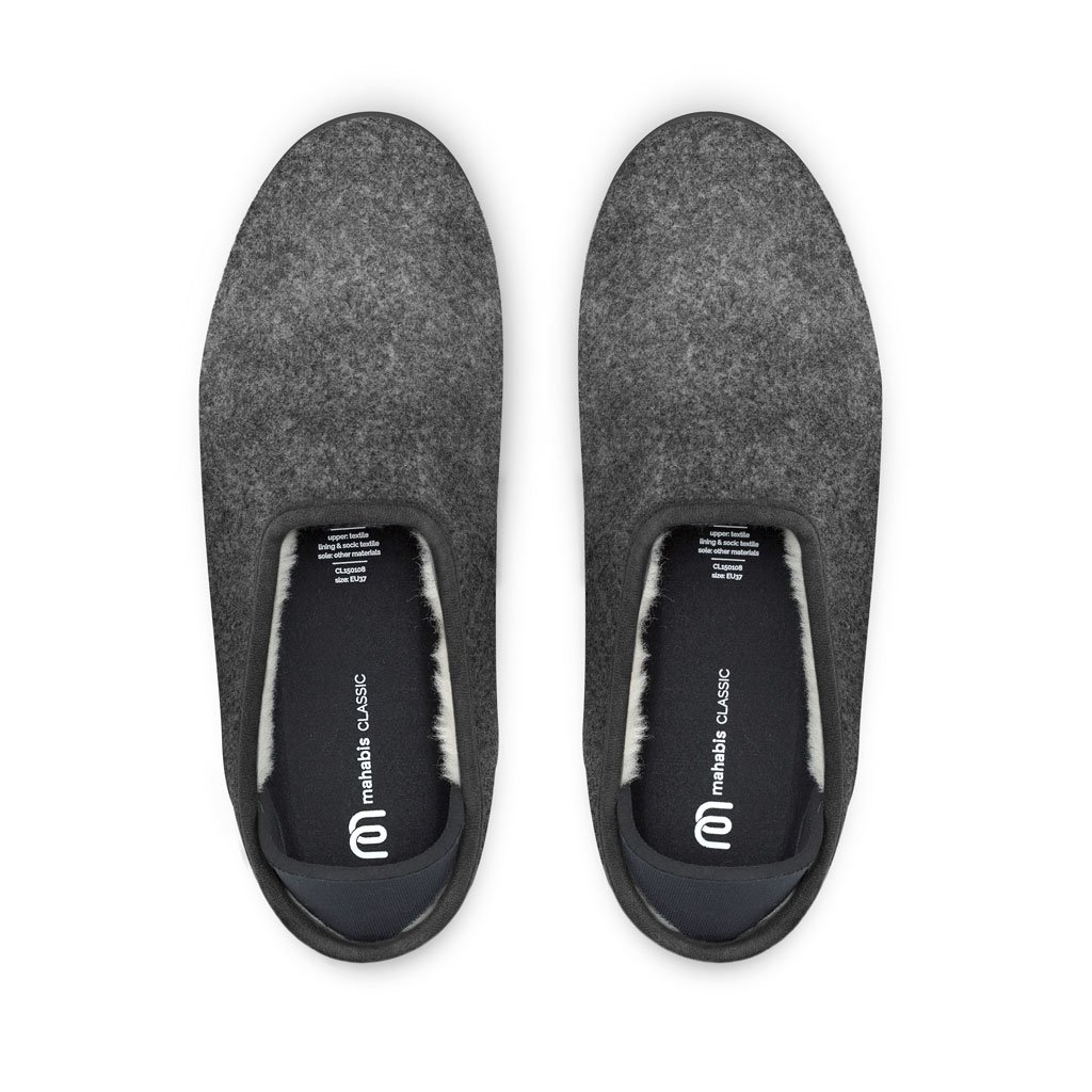 44cce3dfb52 mahabis Classic 2 Slippers - larvik Dark Grey with skien Black Soles in EU  44