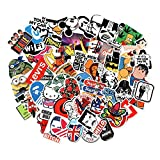 Cool Sticker 100pcs Random Music Film Vinyl Skateboard Guitar Travel Case Sticker Door Laptop Luggage Car Bike Bicycle Stickers (150pcs)