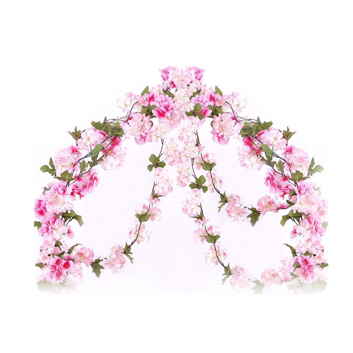 Li Hua猫ローズガーランド人工ローズVine withグリーンLeaves 63 Inchパックof 3花ガーランドホームウェディング装飾 ピンク B075WTSFXG Yh-light Pink