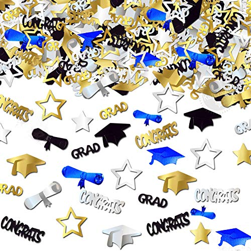 2 Pack Graduation Confetti, 4.2 oz / 4000 PCS Gold Blue Silver Black Graduation Table Confetti 2019 Decorations Congrats Grad Star Diploma Cap Congratulations Confetti for Graduation Party Supplies ()