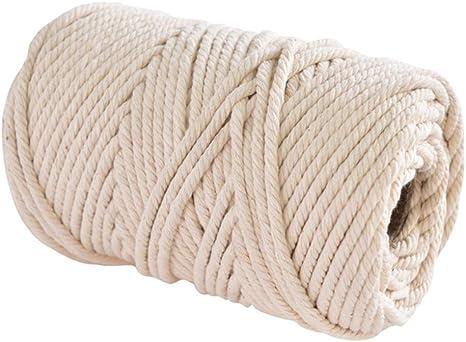 Cuerda de macramé de algodón suave, color natural, hecha a mano ...