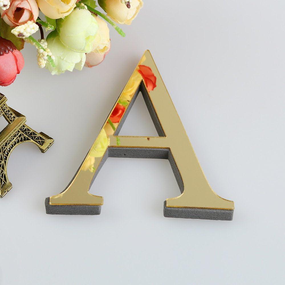S Weilov 26 lettres bricolage 3D miroir acrylique autocollant mural autocollants d/écoration murale Art mural miroir anglais lettres or