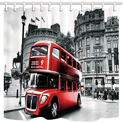 luckyly London City Landscape Decor, Red Bus on Retro Street Before Concert Hall Shower Curtain,Resistant Polyester Fabric Bathroom Decorations, Bath Curtains Hooks Included, 60W 72L Inch ()