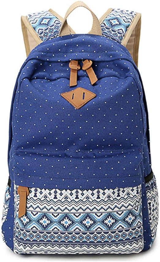 NALIDO Moda para Mujer Mochilas Escolares Niñas Mochila Algodón para Adolescentes Bolsas,Negro: Amazon.es: Hogar