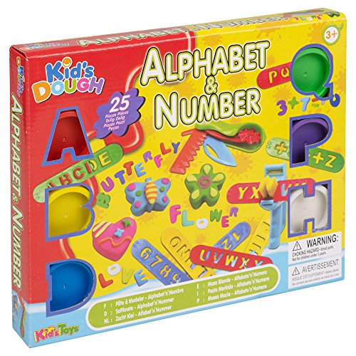 Modelling 25 Piece Alphabet & Number Learning Set - With Modelling Tools, Alphabet & Maths Symbols Cutters, Scissors & 6 Different Colours & Tubs With Moulds (25 Piece Tool Set)