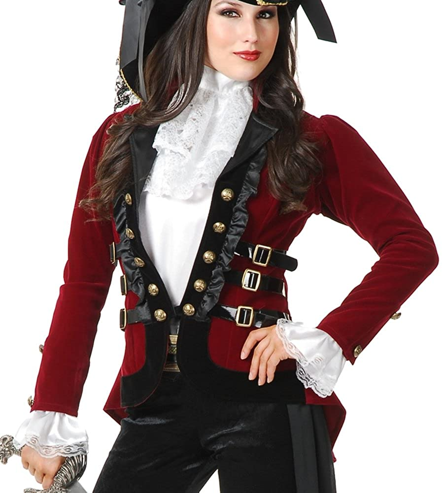 Women's Sultry Wine and Black Velvet Pirate Jacket - DeluxeAdultCostumes.com