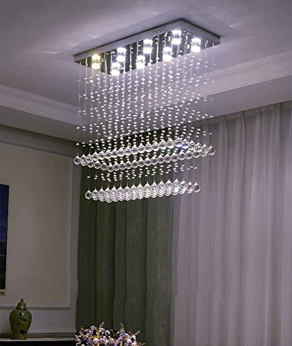 NOXARTE Crystal Rectangle Chandelier Modern Flush Mount Ceiling Light Fixture