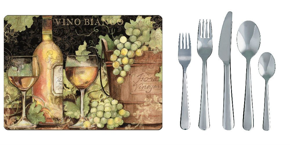 Cala Home 4 Premium Hardboard Placemats Bright Wine Table Mats AND Ikea Dragon 20-Piece Flatware Set Stainless Steel by Cala Home