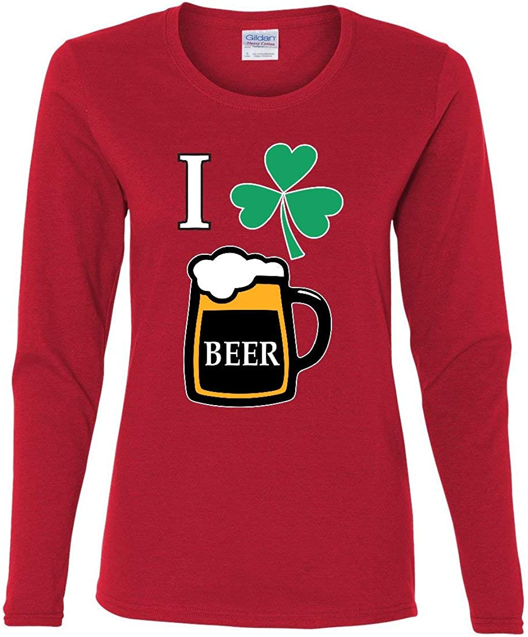 Patricks Drinking I Love Beer Womens Long Sleeve Tee Irish Heart Shamrock St