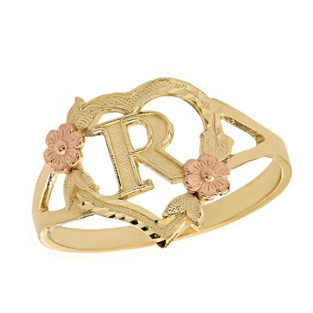 CaliRoseJewelry 10k Two-Tone Initial Alphabet Personalized Heart Ring in Yellow and Rose Gold (Size 10) - Letter R
