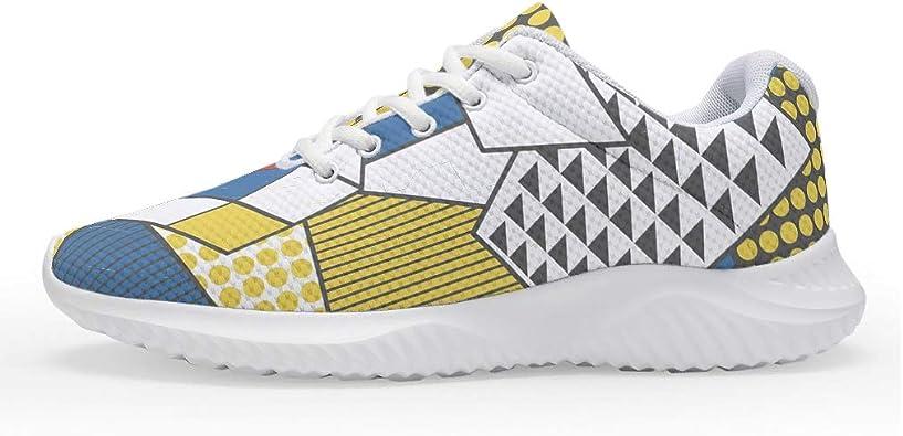 Zapatillas de correr para hombre y mujer, diseño de cubo mágico colorido, color amarillo, azul, zapatillas deportivas para adultos, talla 35-47: Amazon.es: Zapatos y complementos