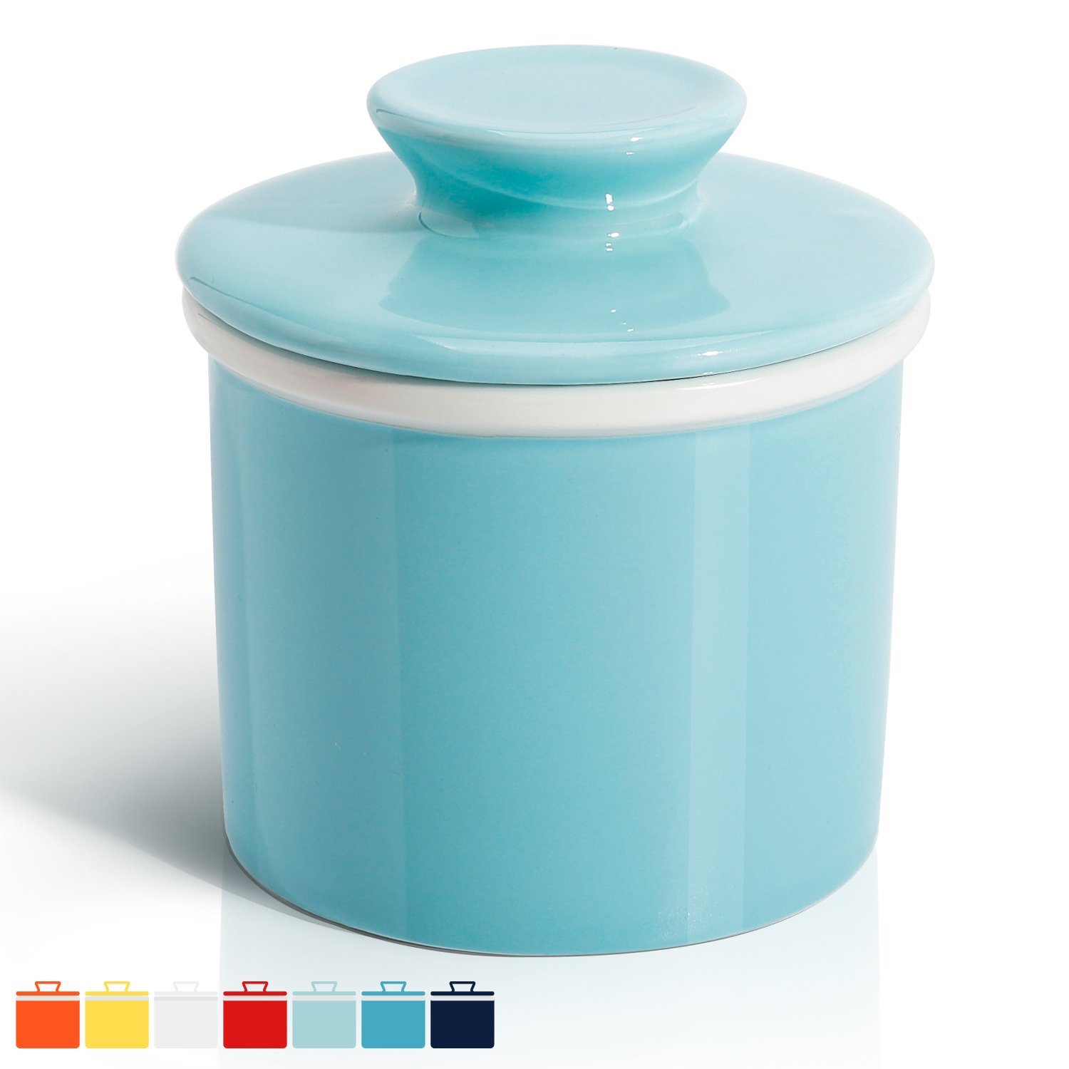 Sweese 3109 Porcelain Butter Keeper Crock - French Butter Dish - No More Hard Butter - Perfect Spreadable Consistency, Turquoise