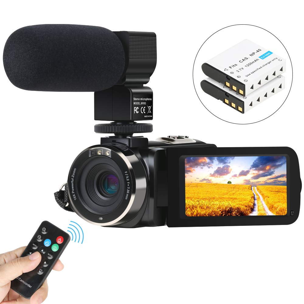 Video Camera Camcorder, Aabeloy Digital Vlogging Camera Recorder with Microphone Full HD 1080P 30FPS 24MP IR Night Vision 3'' Rotatable Touch Screen Camera for YouTube with Remote Control, 2 Batteries