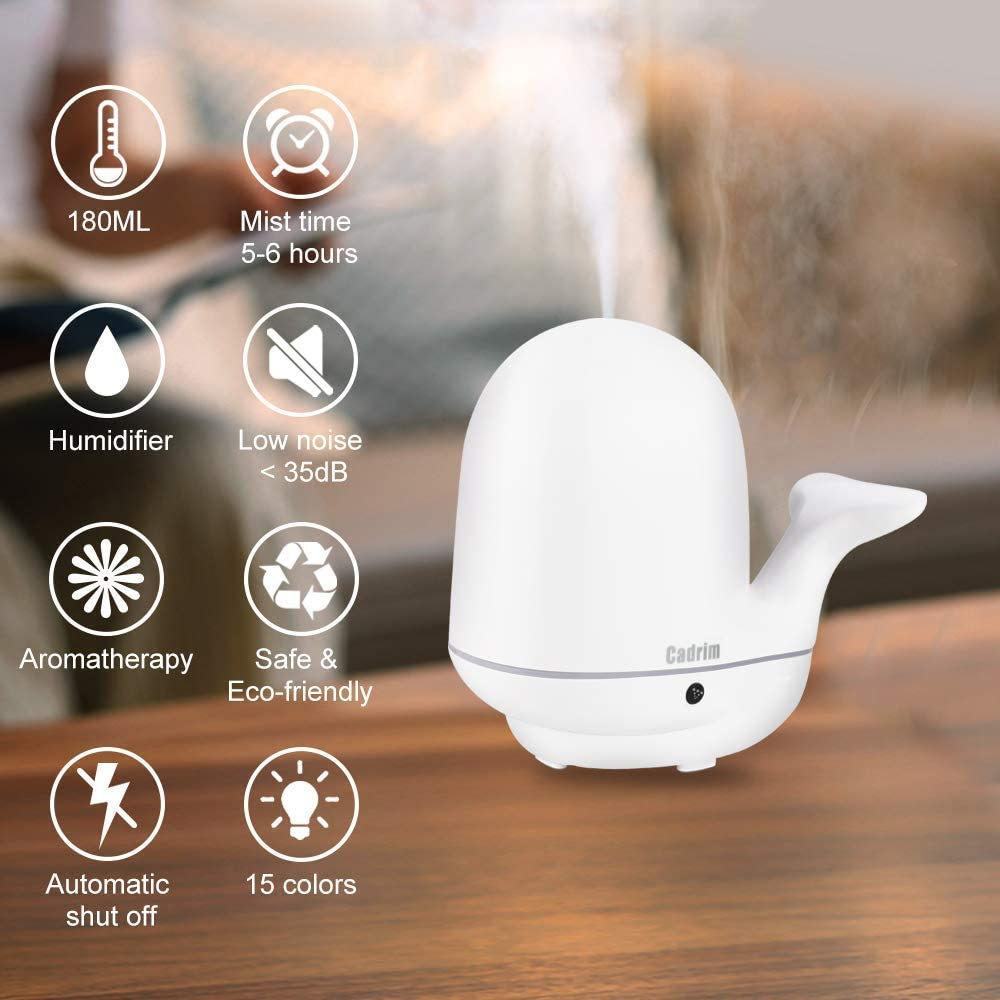 Cadrim Ultrasonic Humidifier Quiet Cool Mist Essential Oil Diffuser 7 Color Night Light Cute Whale for Baby Kids Bedroom Living Room 180ml
