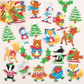 Baker Ross- Pegatinas de Espuma con Animales del Bosque Invernal (Pack de 120) para Decoraciones o Tarjetas navideñas: Amazon.es: Amazon.es