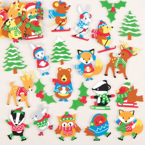 Baker Ross Winter Woodland Foam Stickers (Pack of 120) Creative Xmas Art Supplies for Christmas Decorations and Card Making ()