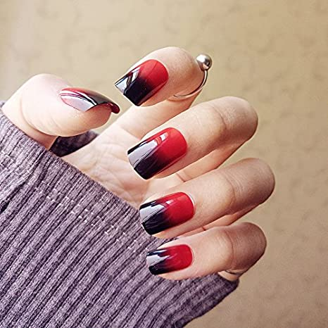 YUNAI 24PCS falso clavo negro brillante y rojo pre-diseño falso uñas ...