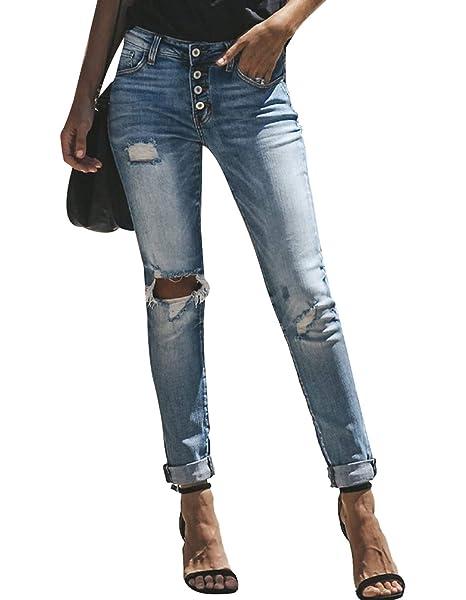 Amazon.com: Burvogue - Pantalones vaqueros para mujer ...