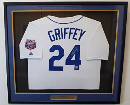 Seattle Mariners Ken Griffey Jr. Autographed Framed White Majestic Throwback  Jersey HOF Patch Beckett BAS d47f09565f69