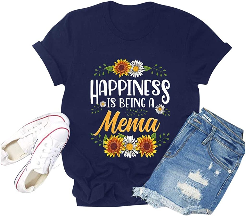 Leaf2you Happiness is Being A Mama T-Shirt for Mom Grandma Grandmother Summer Crew Neck Shirts Casual Short Sleeve Tee Tops